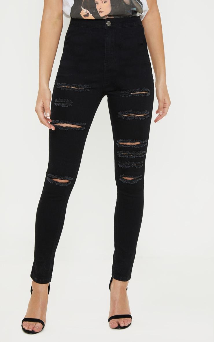 Black Extreme Rip Disco Fit Skinny Jean  2