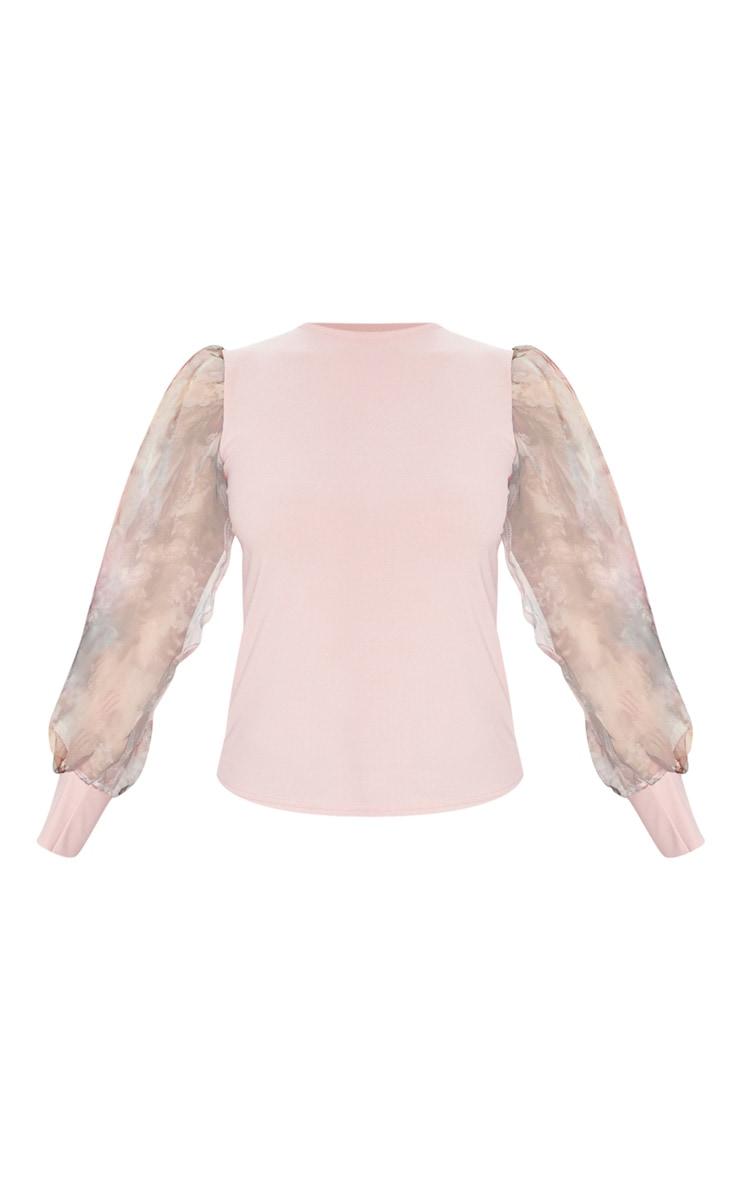Blush Printed Organza Long Sleeve Top 3
