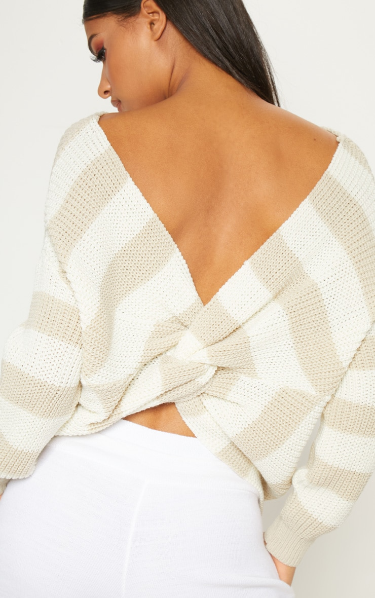 Stone Stripe Twist Back Sweater 5