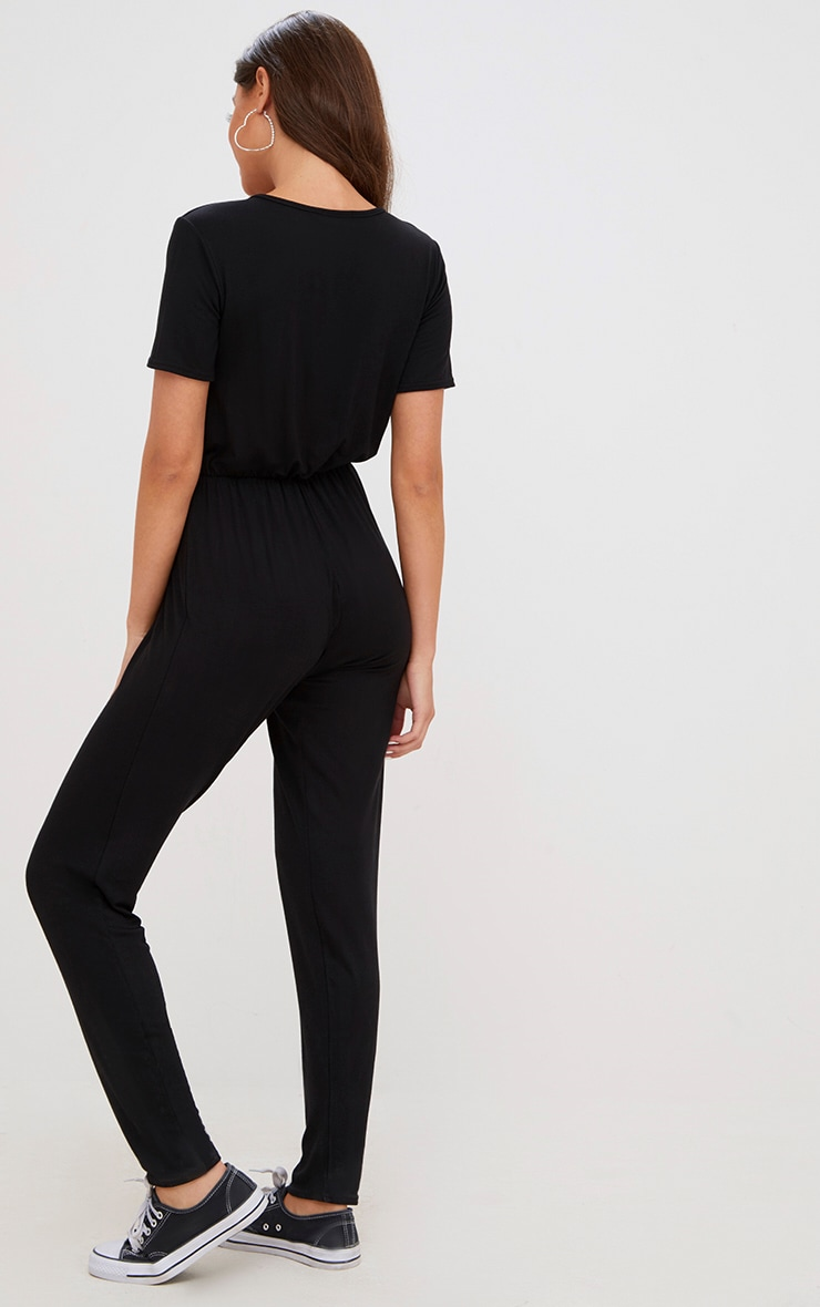 Black Jersey Wrap Jumpsuit  2