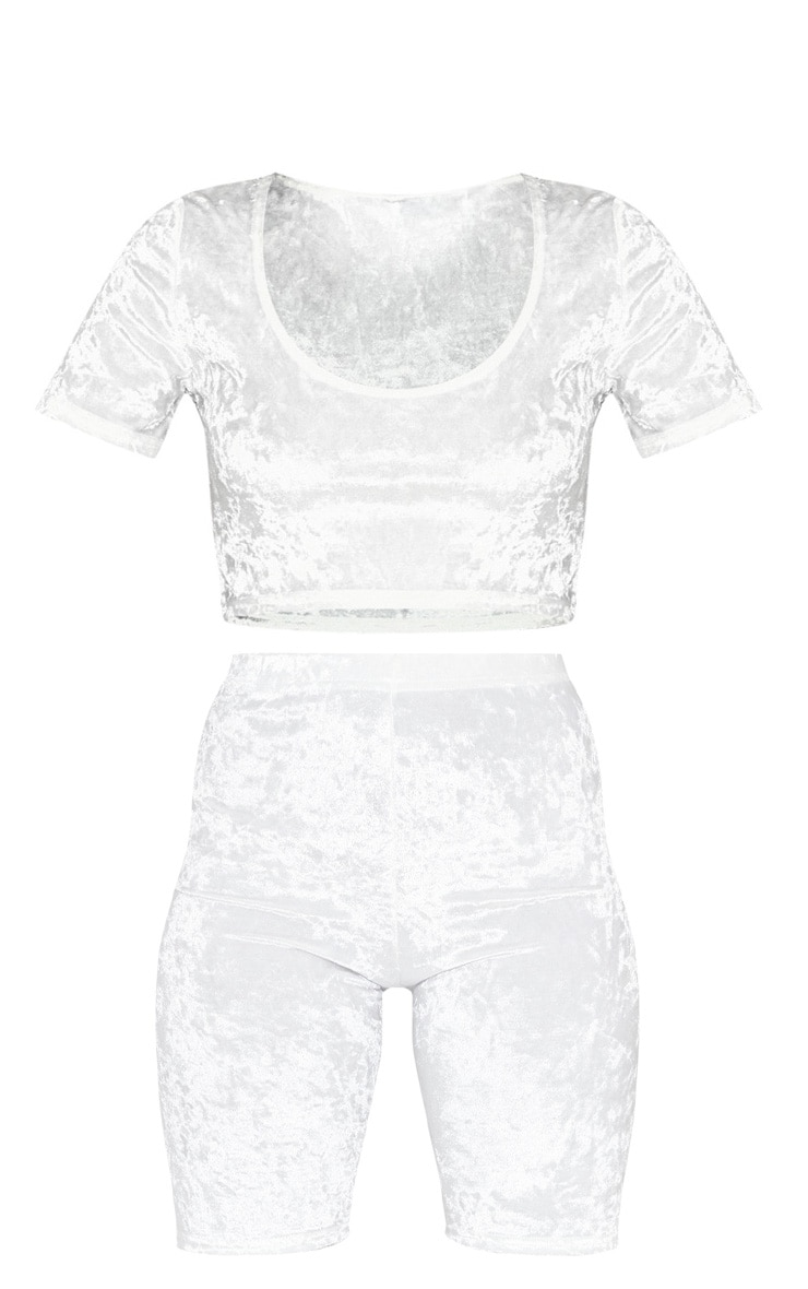 White Crushed Velvet Crop Top And Cycle Short Set 3
