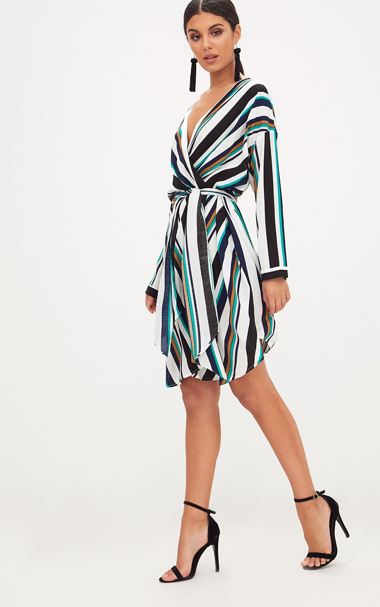 Navy Bold Stripe Tie Waist Wrap Dress 4