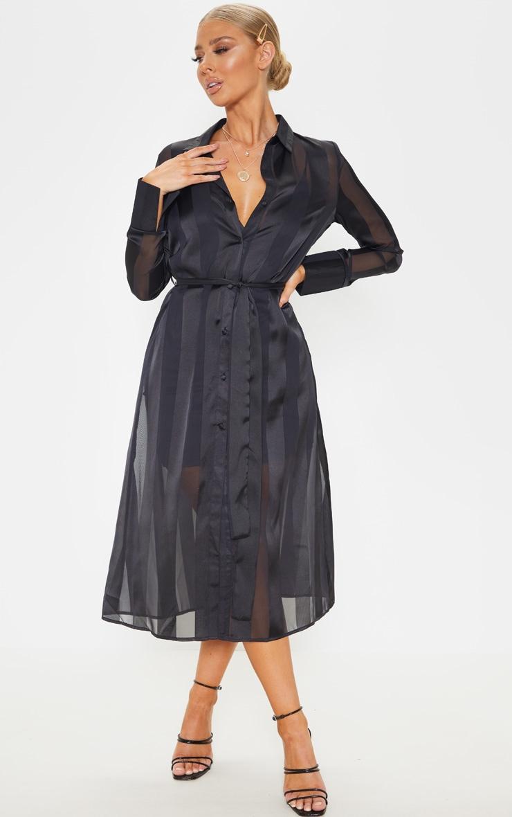 Black Satin Midi Shirt Dress 1