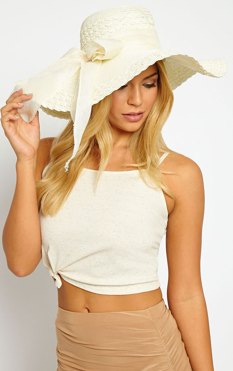 Henley Cream Straw Floppy Hat 1