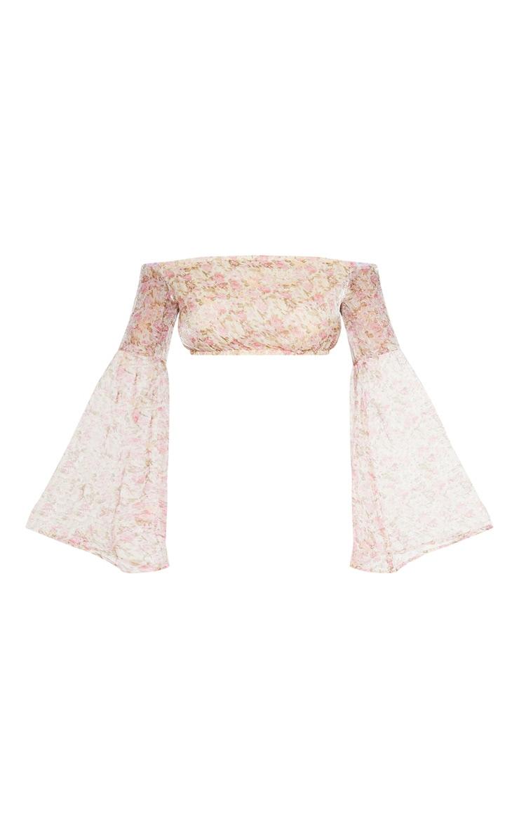 Pink Ditsy Floral Printed Chiffon Bardot Long Sleeve Crop Top 3