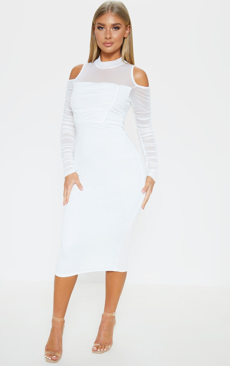 White Cold Shoulder Ruched Sleeve Midi Dress 4