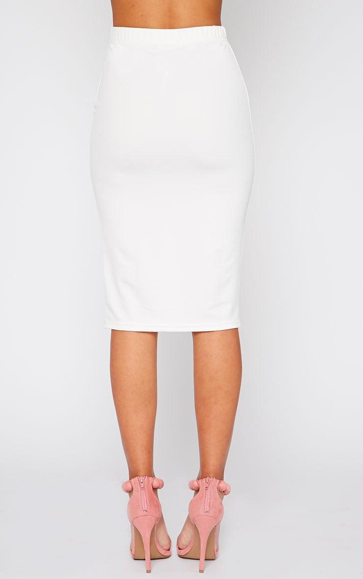 Zafia Cream Crepe Midi Skirt 4