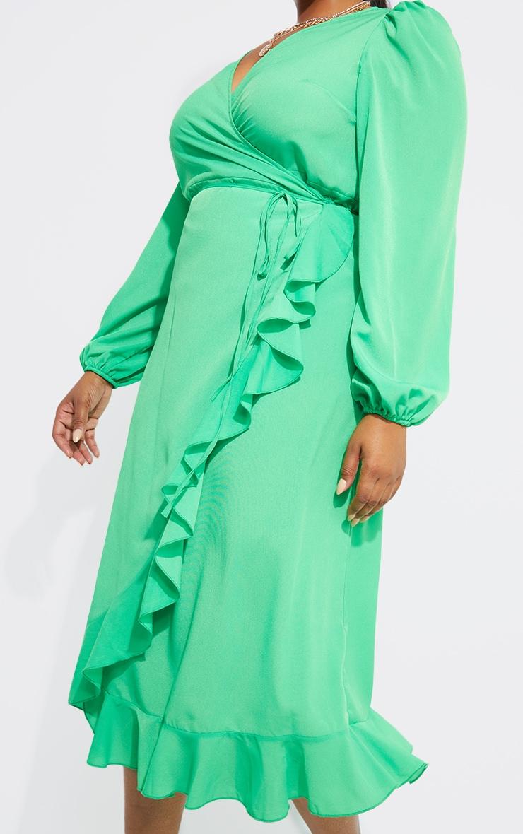 Plus Bright Green Ruffle Wrap Front Midi Dress 4
