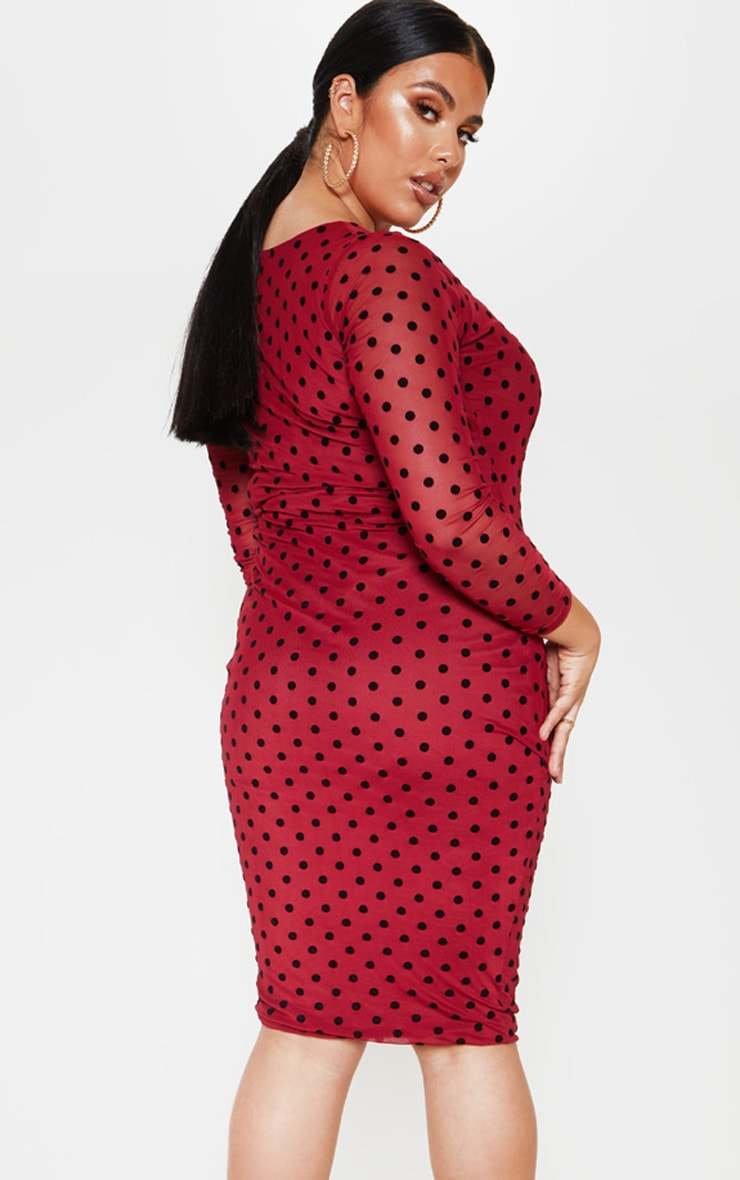 Plus Burgundy Polka Dot Mesh Square Neck Midi Dress  2