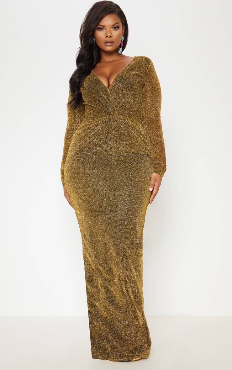Gold Textured Glitter Plunge Knot Detail Maxi Dress 2