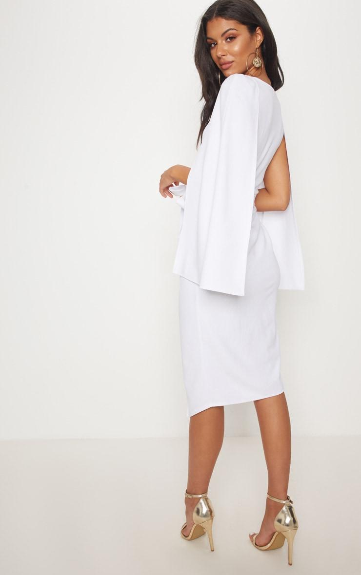 White Cape Style Wrap Midi Dress Dresses