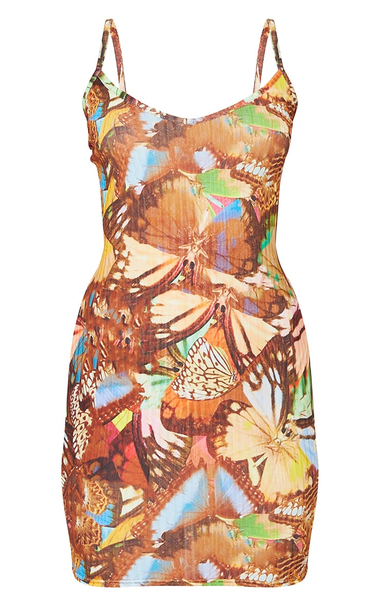 Multi Butterfly Print Ribbed Strappy Bodycon Dress 5