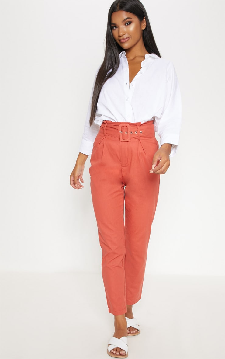 Rust Belted Paperbag Tapered Trouser 1