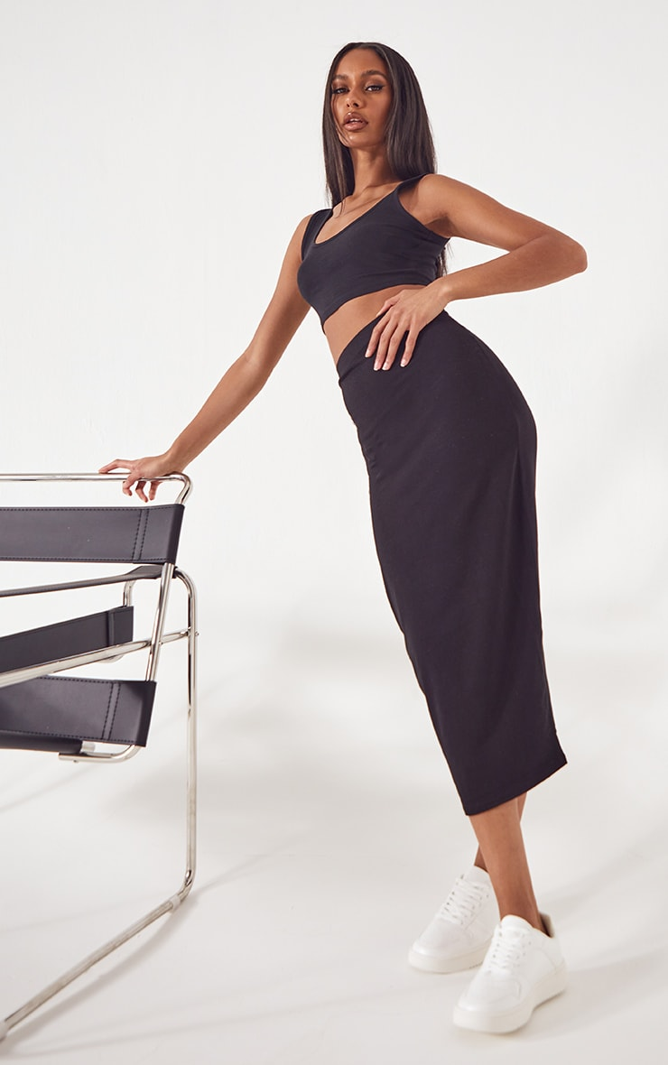 Black Basic Cotton Blend Jersey Midaxi Skirt 1