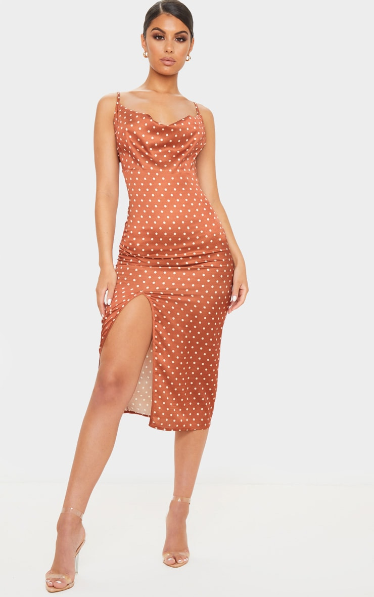 Terracotta Polka Dot Satin Strappy Cowl Midi Dress 1