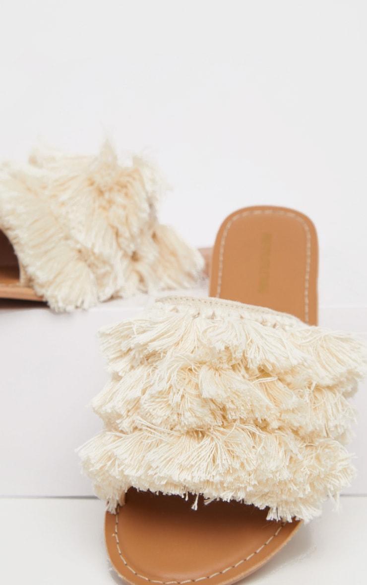 Cream Fringe Mule Sandal 4