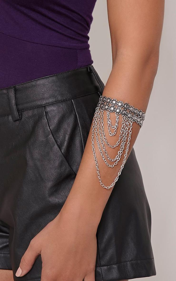 Stephania Silver Upper Arm Chain Cuff 1