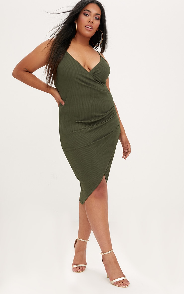Plus Khaki Ribbed Cami Midi Dress 4
