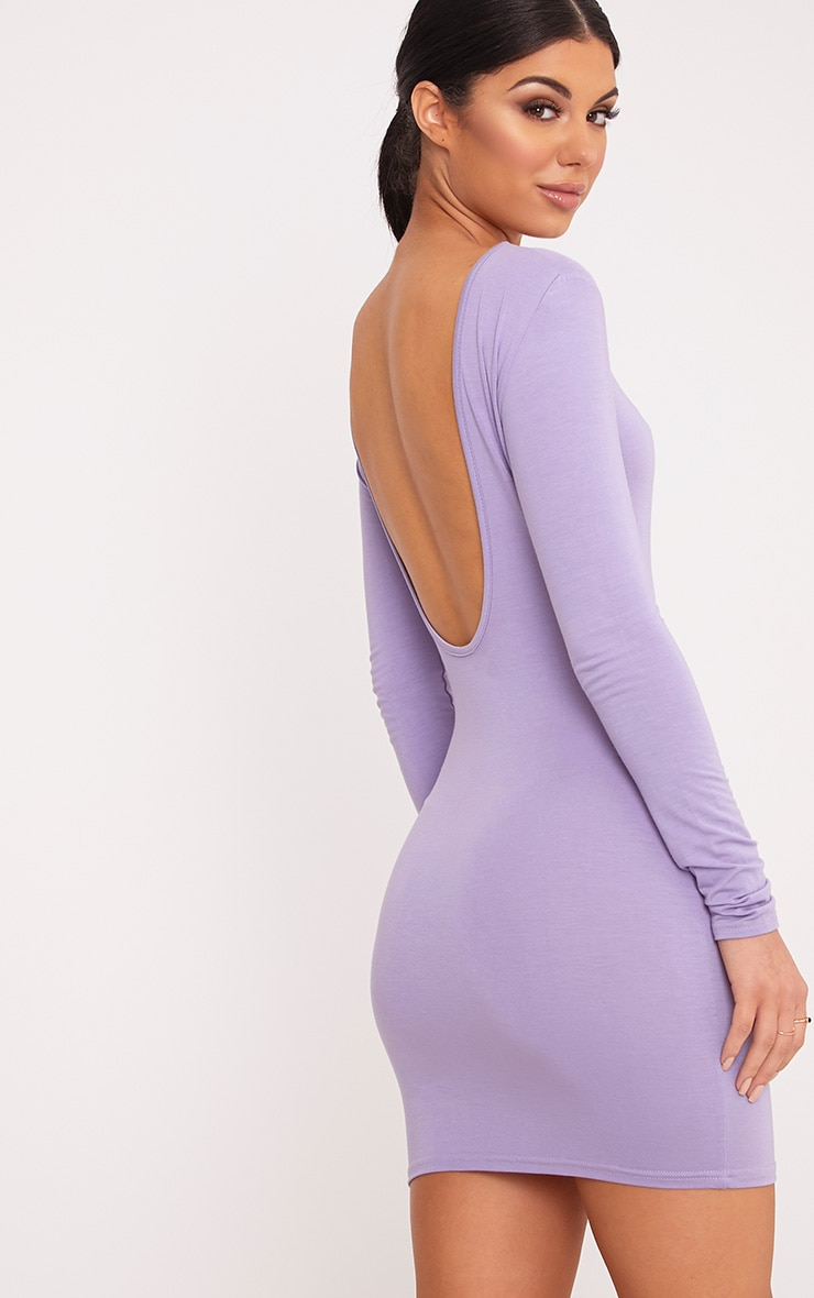 Basic Lilac Scoop Back Bodycon Dress 2