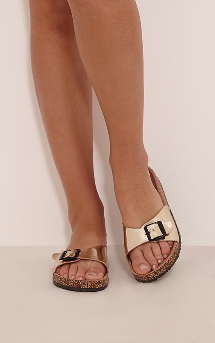 Liliy Gold Metallic Slip On Sandals 1