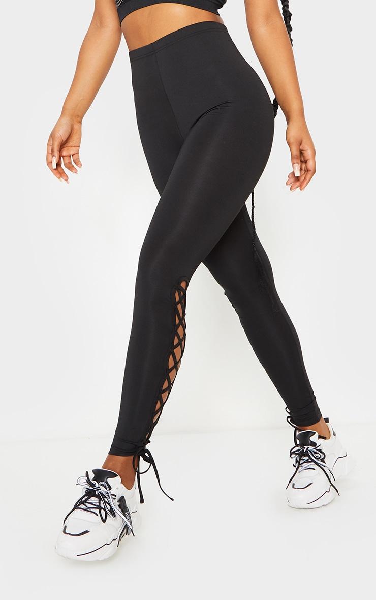 Black Lace Up High Waist Gym Leggings 2