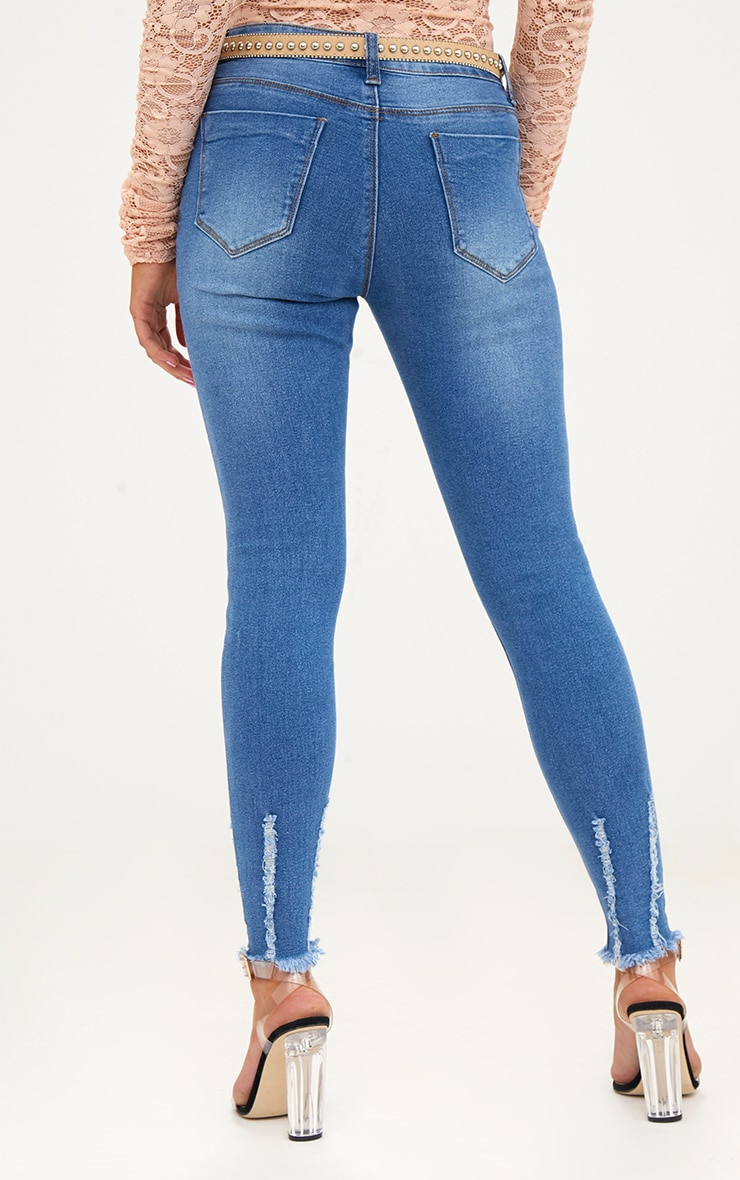 Petite Mid Blue Wash Ripped Skinny Jeans 4