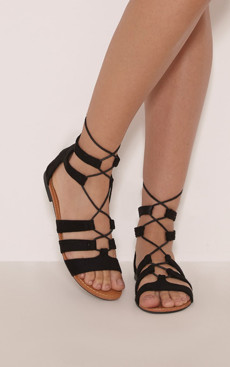 Abah Black Faux Suede Gladiator Sandal 1