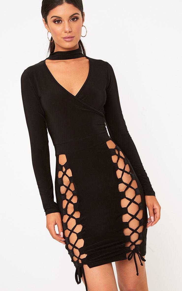 Elaina Black Thigh Lace Up Bodycon Dress  1