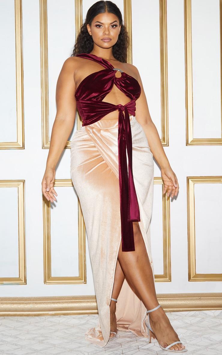 Plus Champagne Velvet Wrap Maxi Skirt 3