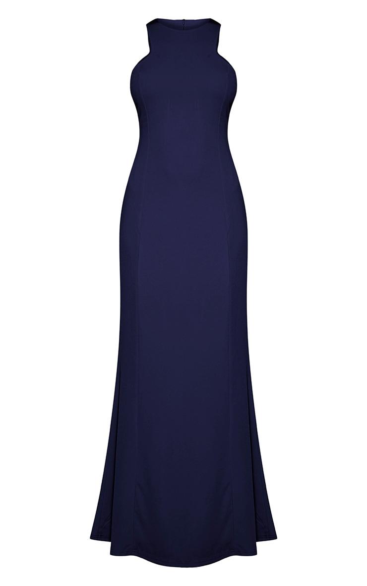 Natalia Navy Racer Neck Crepe Maxi Dress 6