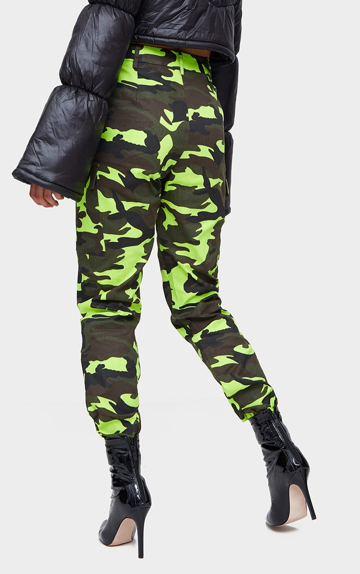 Lime Camo Print Cargo Trousers 4
