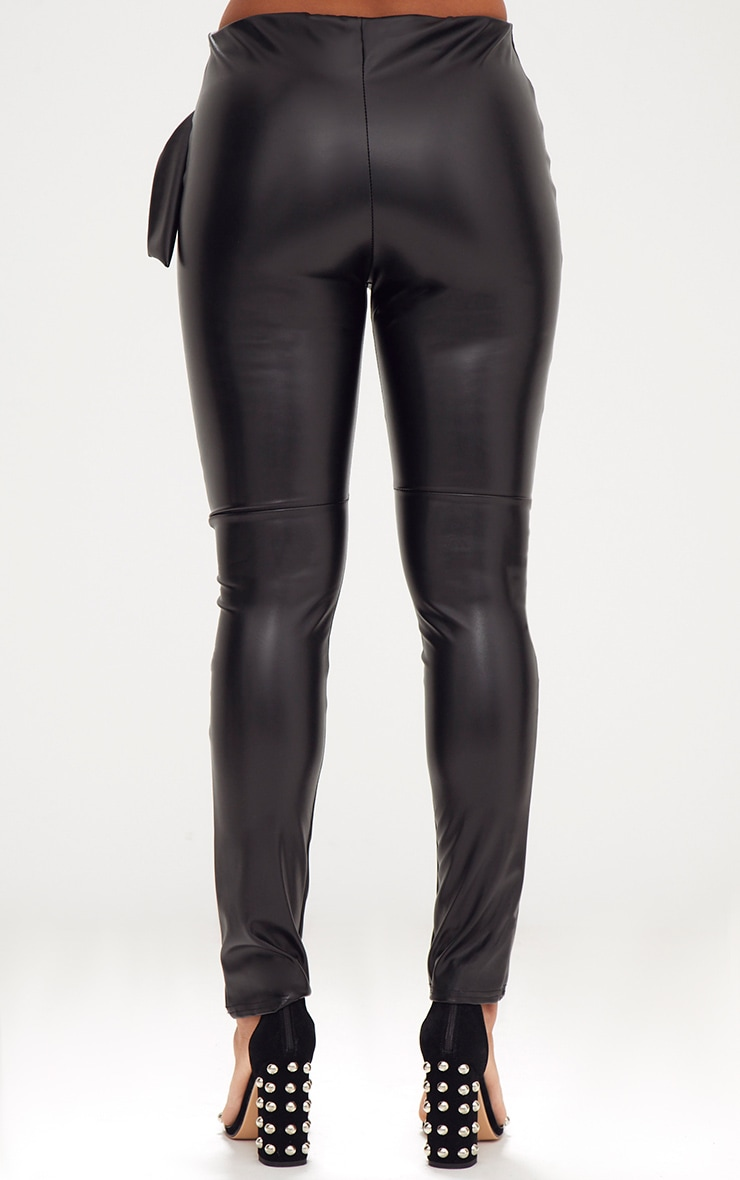 Black Faux Leather D Ring Wrap Trousers 4