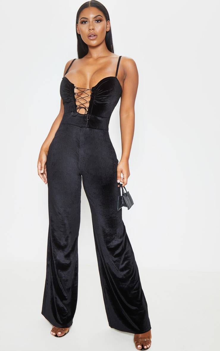 Black Velvet Lace Up Strappy Jumpsuit 1