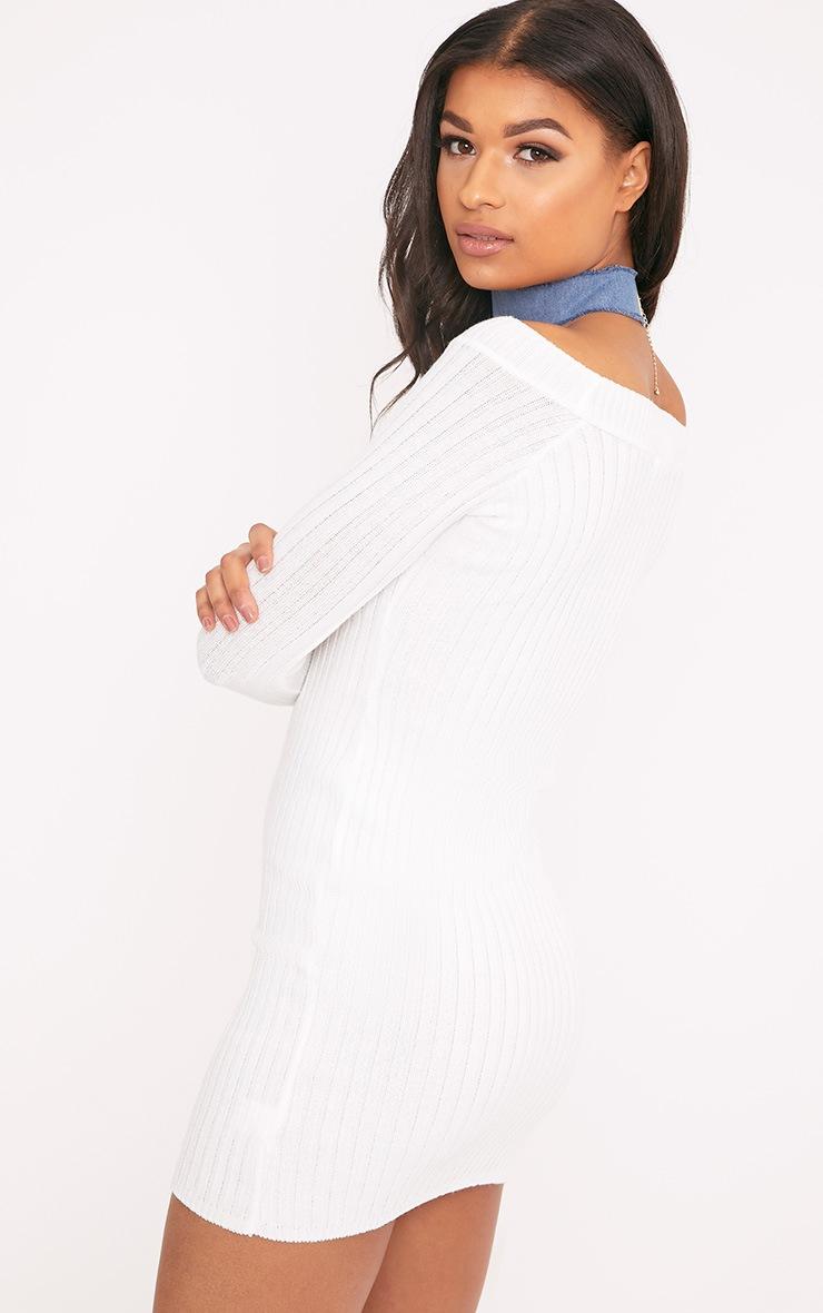 Julia Cream Knit Bardot Mini Jumper Dress 2