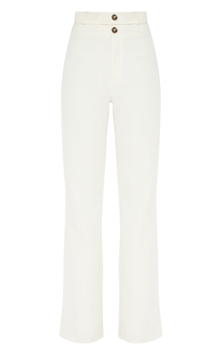 White Woven Double Waist Band Flared Trousers 5