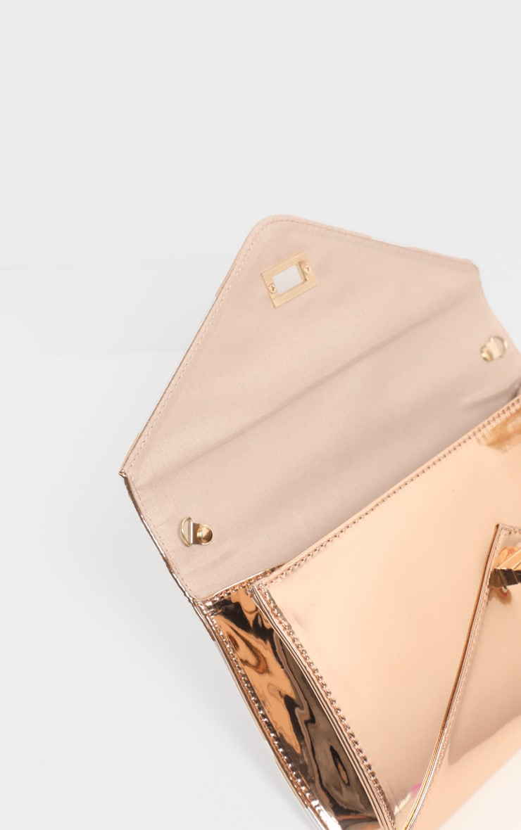 Rose Gold Metallic PU Twist Lock Clutch Bag 4