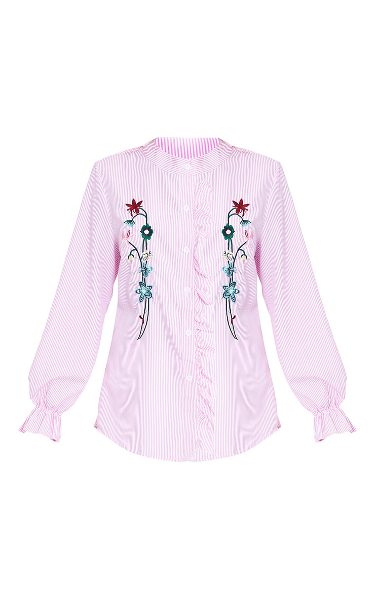 Linette Pink Embroidered Stripe Shirt 3