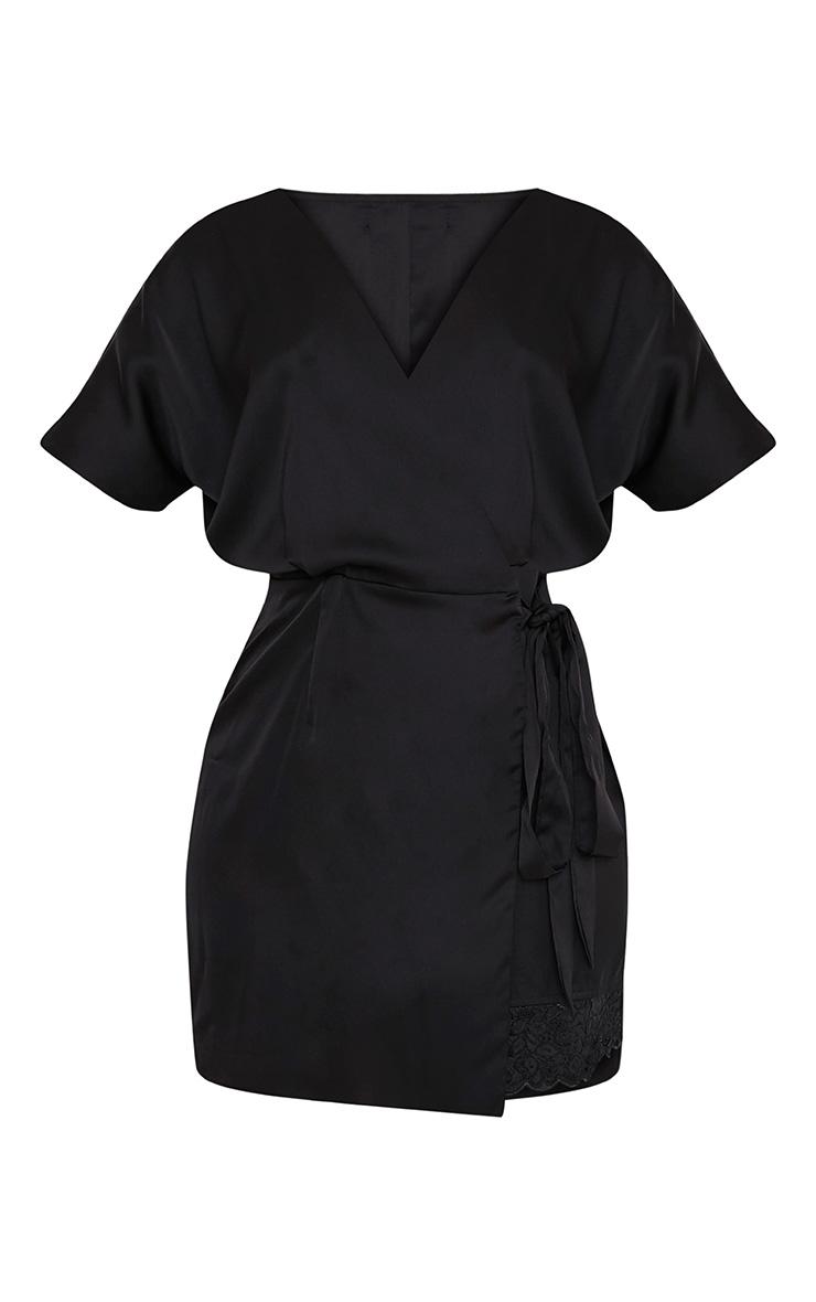 Sereene Black Silky Lace Trim Kimono Dress 3