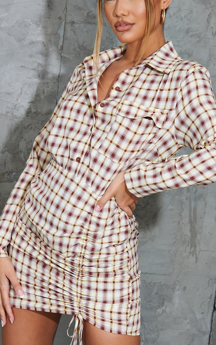 Stone Check Ruched Skirt Button Up Shirt Dress 4