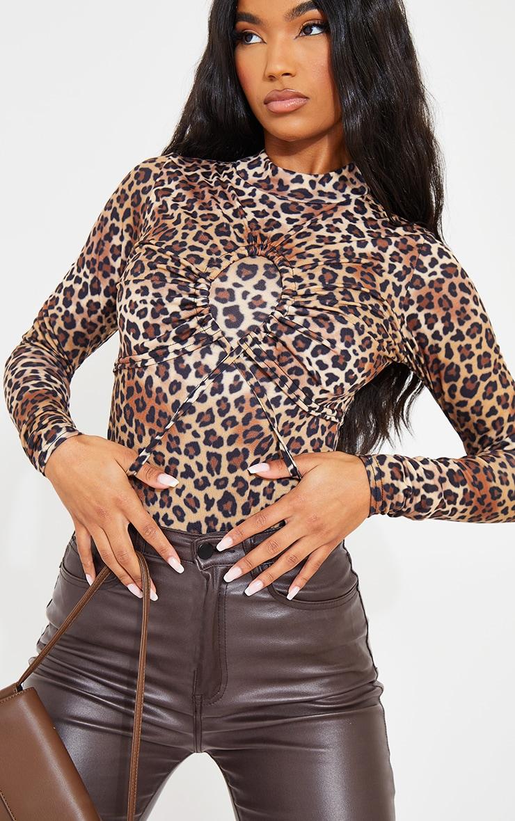 Brown Leopard Print Keyhole Detail High Neck Bodysuit 4