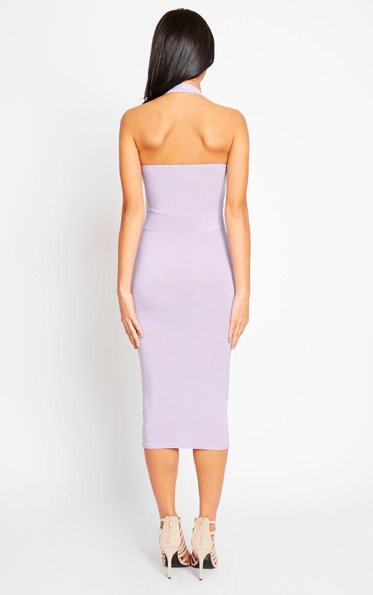 Lilly Lilac Slinky Halterneck Midi Dress 2