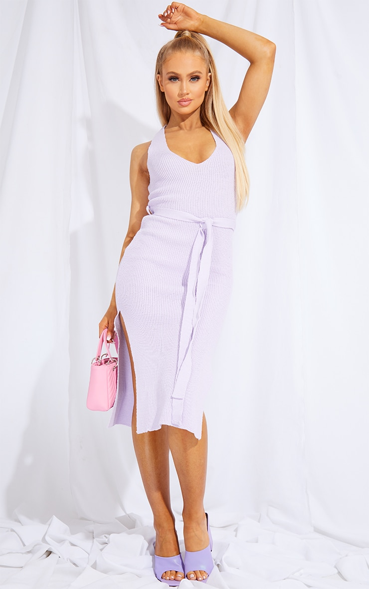 Lilac Knitted Belted Split Midi Dress 1