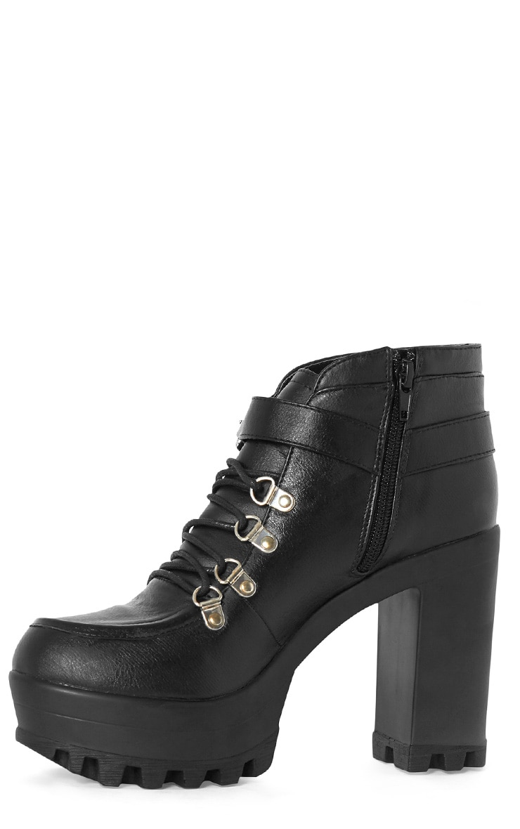 Celestia Black Cleated Sole Lace Up Boot  3