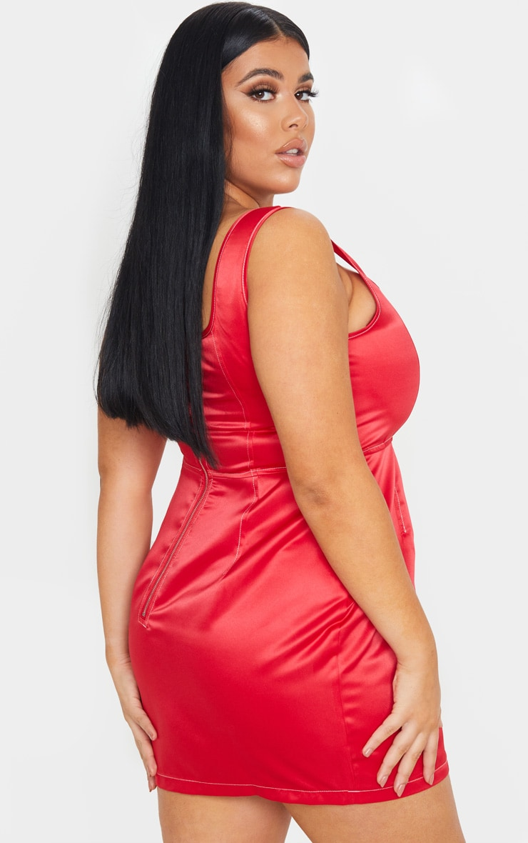 Plus Red Contrast Stitch Skater Dress 2