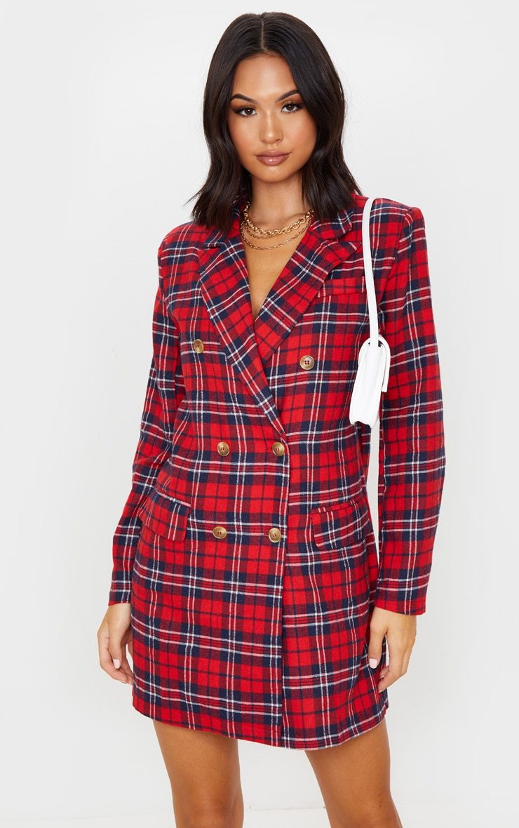 Red Check Print Button Front Detail Oversized Blazer Dress 1