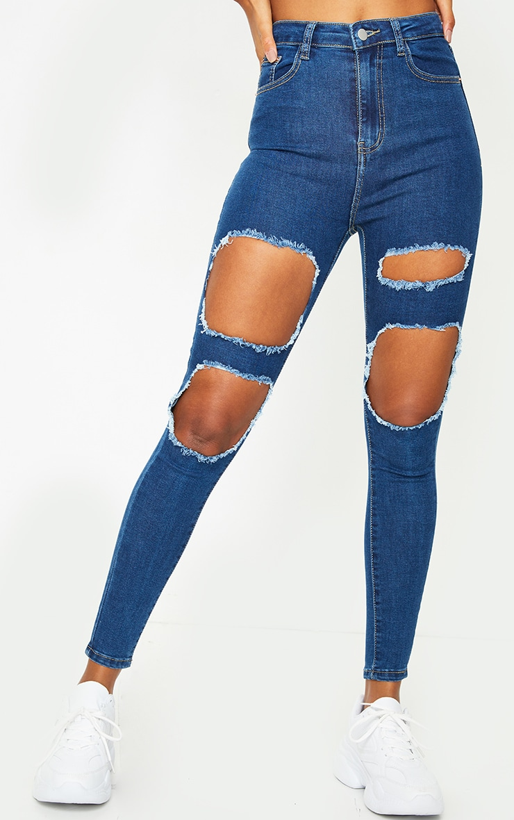 PRETTYLITTLETHING Mid Blue Wash Open Thigh Distressed 5 Pocket Skinny Jeans 2