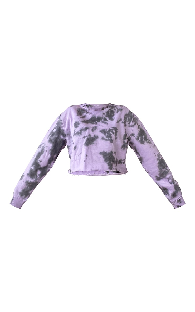 Plus Lilac Tie Dye Cropped Sweater 5