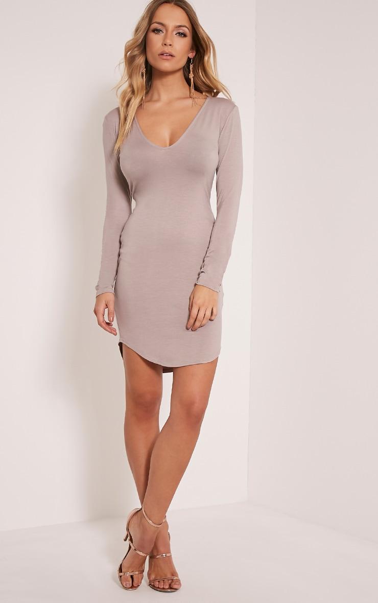 Alby Taupe Curve Hem Plunge Neck Dress 5