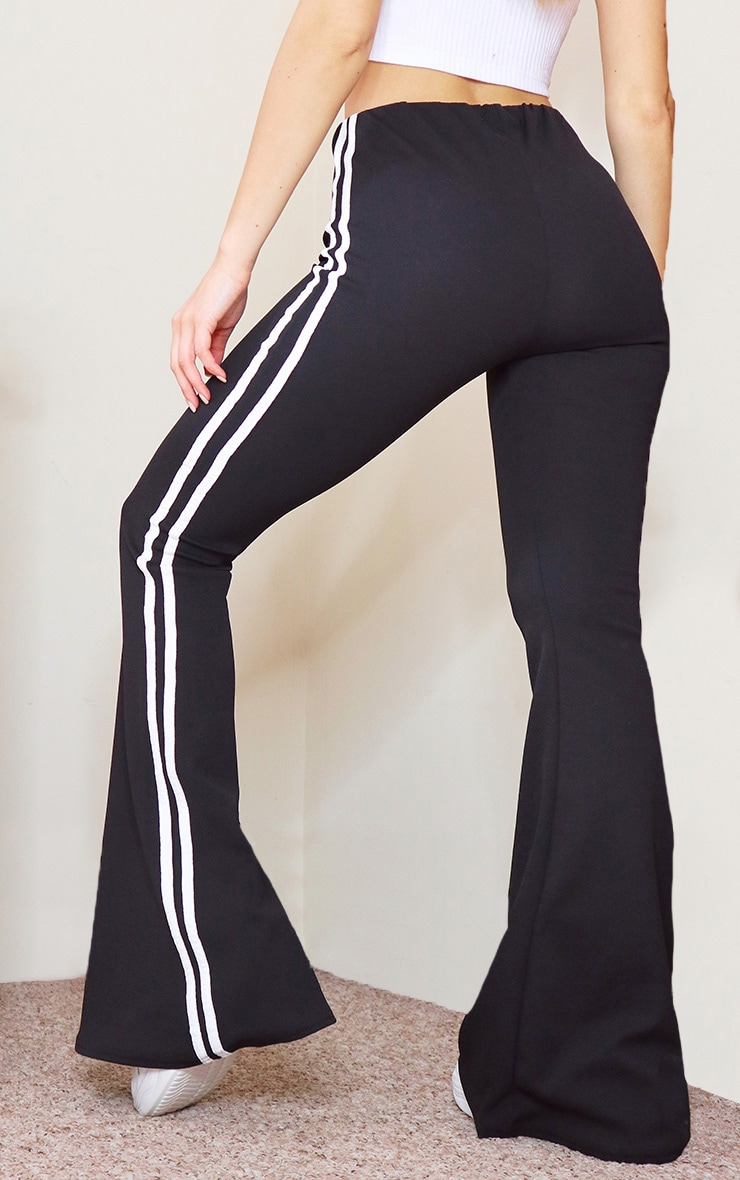 Black Double Side Stripe Flared Pants 3