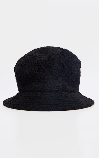 Black Borg Faux Fur Reversible Bucket Hat